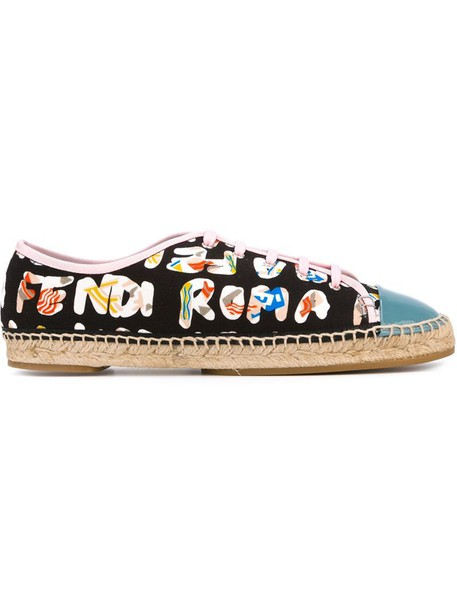 women espadrilles cotton print black shoes