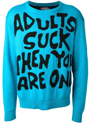 Jeremy scott 'adults suck' crew neck sweater
