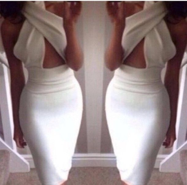 Sexy White Backless Cross Bandage Bodycon Dress Date Party Cocktail Celeb Outfit | eBay