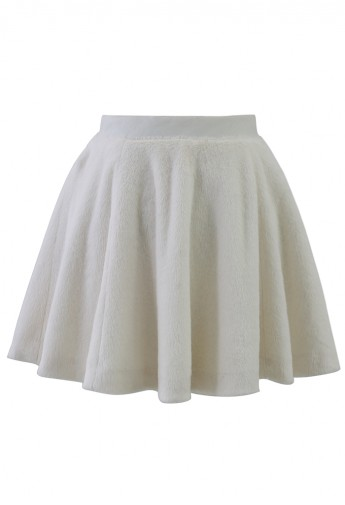 White Faux Shearing Skater Skirt - Retro, Indie and Unique Fashion