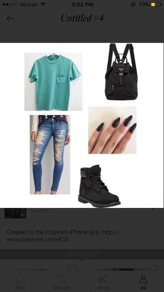 jeans all ripped jeans black bag