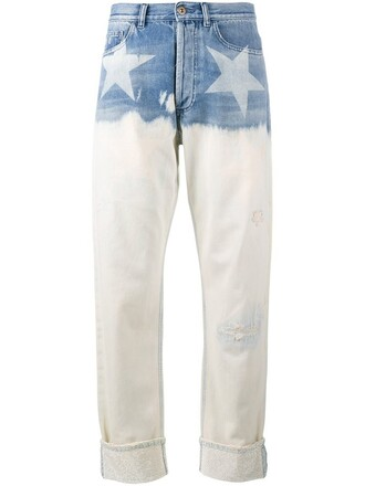 jeans women cotton print blue