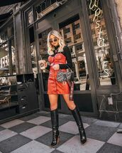 bag,dior bag,black boots,heel boots,red dress,leather dress,high neck
