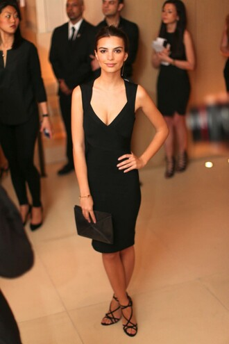 dress black dress midi dress emily ratajkowski sandals cocktail dress bodycon