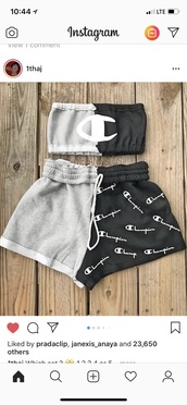 blouse,shorts,sweats,sweatshirt,champion,top,crop tops,drawstring,black,grey,shirt,where do i get this