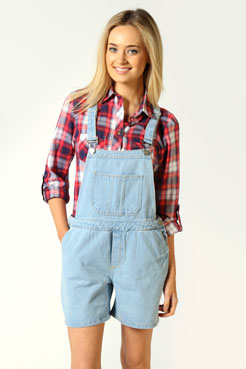 Beatrice Lightwash Denim Roll Hem Dungarees at boohoo.com