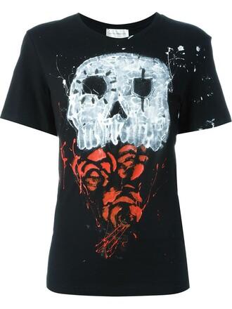 t-shirt shirt skull print black top