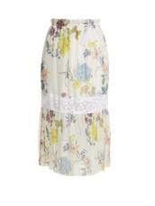 skirt,midi skirt,midi,floral,white