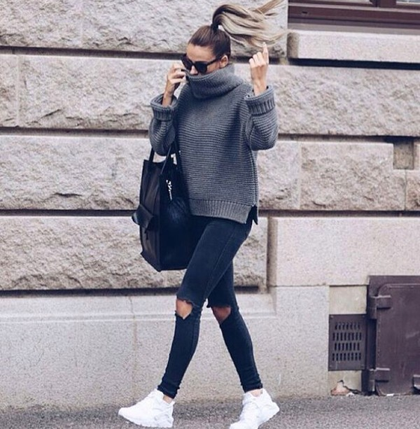 Sweater: grey, turtleneck sweater, grey sweater, oversized sweater ...