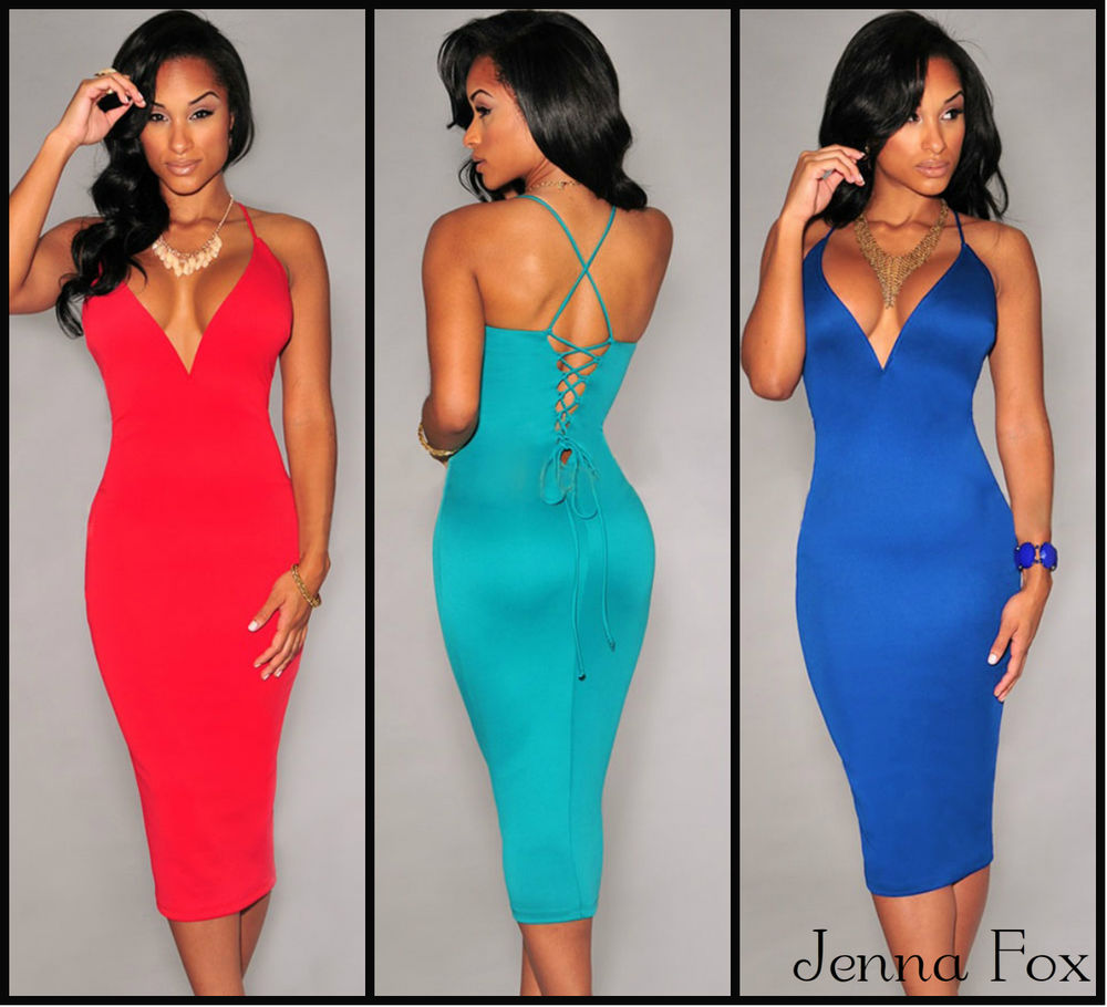 New sexy deep plunging lace up bodycon midi cocktail party clubwear dress 6804