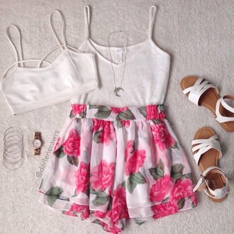 skirt white skirt floral skirt high waisted skirt