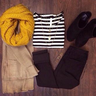 shirt striped shirt scarf knit scarf yellow yellow scarf cardigan beige cardigan
