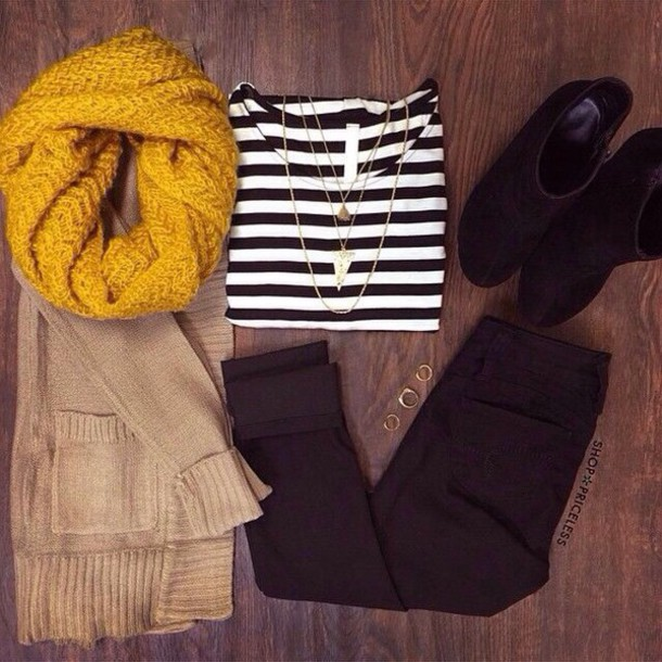 shirt striped shirt scarf knit scarf yellow yellow scarf cardigan beige cardigan