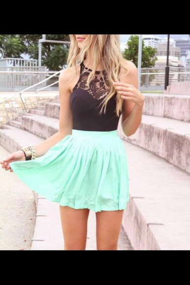 black tank top black crop top dress summer blue skirt blue dress black skater dress short black dress short dress skater dress skater skirt teenagers teens summer dress clothes outfit cute dress casual dressy