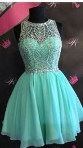dress,short,teal,homecoming dress