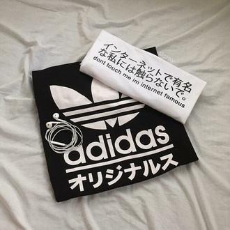 t-shirt black adidas white china