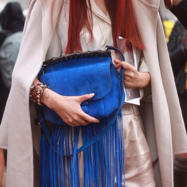 bag fringe and frange blue