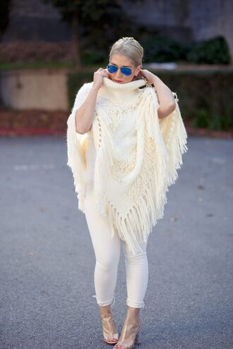 katwalksf blogger jeans shoes sunglasses bag poncho cardigan clear boots white jeans
