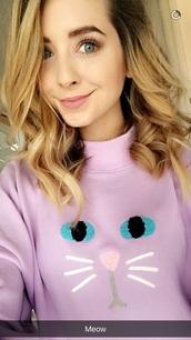 sweater,zoella snapchat,snapchat,meow,zoella jumper,zoella sweater,cat jumper,pink cat jumper,cat sweater,pink cat sweater,purple cat jumper,purple cat sweater,zoella,zoe sugg