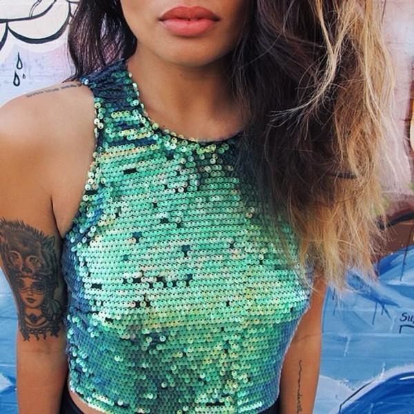 tank top green blue mermaid sequins