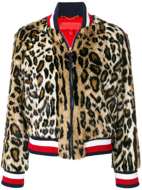 Hilfiger Collection - leopard print striped bomber jacket - women - Acrylic/Modacrylic/Polyester/Viscose - 10, Acrylic/Modacrylic/Polyester/Viscose