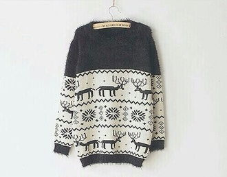 christmas sweater cozy sweater winter sweater deer holiday season