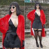 coat,red fur coat,rihanna,clothes,rihanna style,rihanna clothes,dior,model,black dress,tights,suspender leggings,black silk dress,dress
