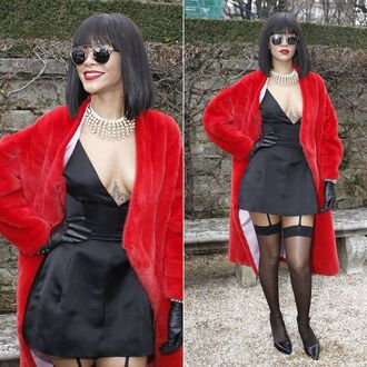coat red fur coat rihanna clothes rihanna style rihanna clothes dior model black dress tights suspender leggings black silk dress dress