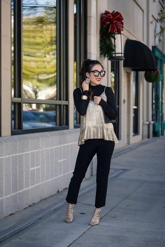 gracefullee made blogger top pants jewels bag sunglasses shoes make-up high heel sandals sandals black jeans gold shoes black turtleneck top jewelry mirrored sunglasses black top gold top gold