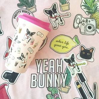 home accessory yeah bunny pink cute frenchie dog tumbler coffee back to school