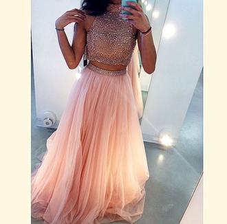 dress two-piece pink prom dress rhinestones gown