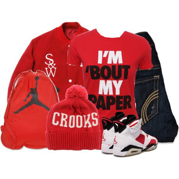 hat shirt bag pants jordans sweater