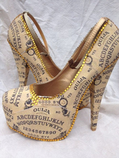 shoes,ouija board,high heels,tan,ouija
