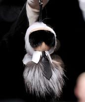 jewels,karl lagerfeld,fendi,fur,fur keychain,designer,fashion week