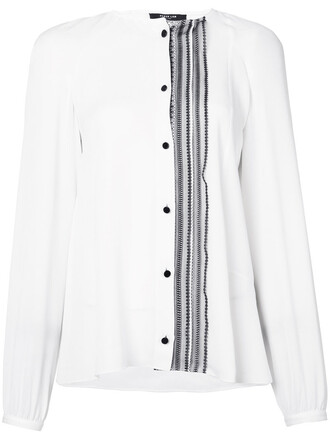 shirt ruffle women white silk top