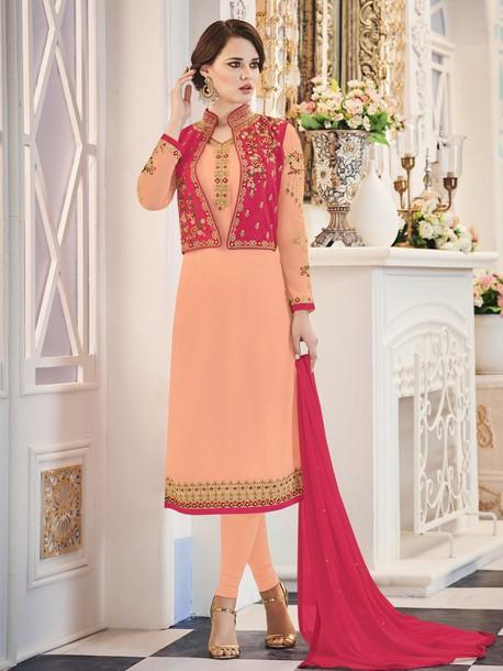 Dress Designer Salwar Kameez Straight Cut Suit With Koti Designer