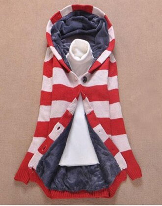 cardigan red white cute style fall outfits stripes hoodie korean fashion fashion back to school