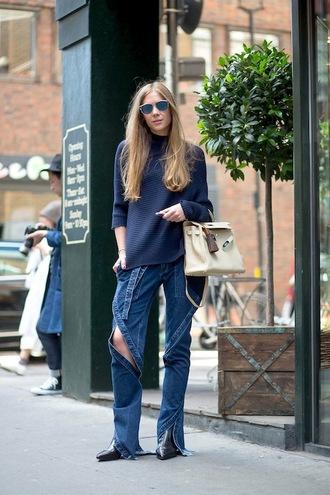 le fashion image blogger sunglasses sweater bag jeans