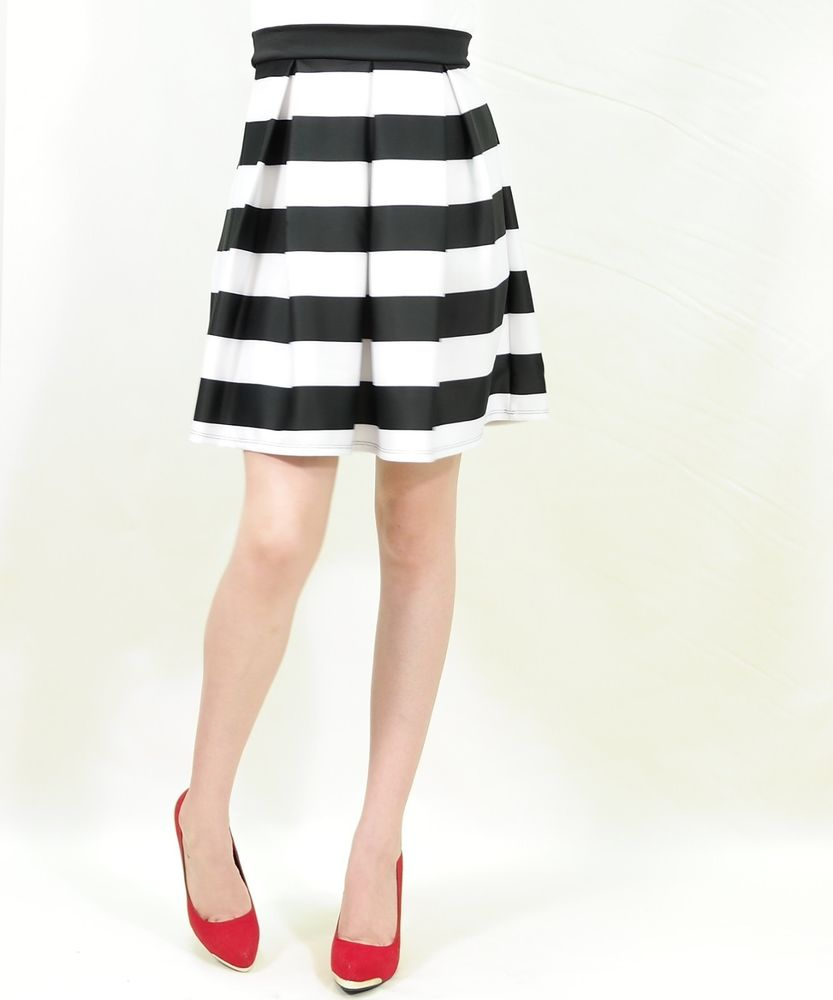 Stripe Vintage Pleated Long Skater Skirt A Line | eBay