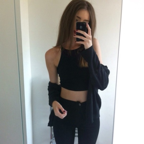 black jeans skinny jeans girl cardigan tumb indie tumblr outfit tank top jeans shirt black fashion blouse crop tops sweater cropped top instagram
