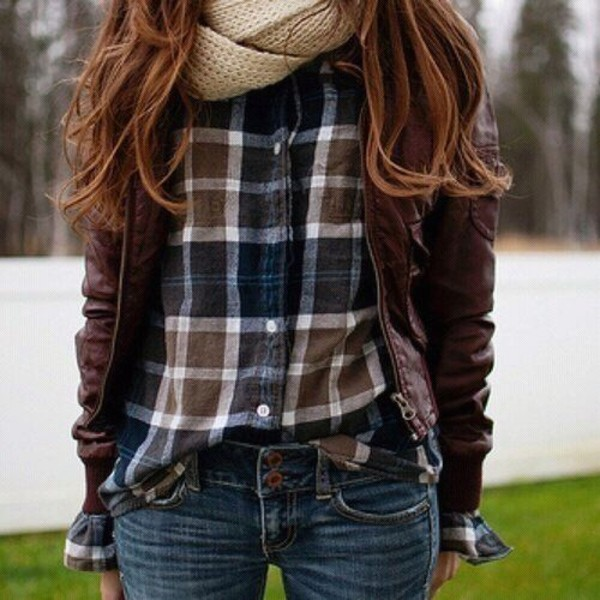 blouse clothes flannel plaid scarf jeans shirt blue brown leather jacket leather jacket jacquard fall outfits fall outfits knitwear knitted scarf flannel shirt navy brown leather jacket dark fall outfits