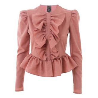 pink ruffle marie-antoinette pink jacket grey jacket blue jacket