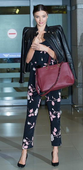 miranda kerr jacket jumpsuit fall outfits