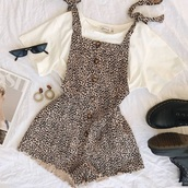 romper,leopard print,summer