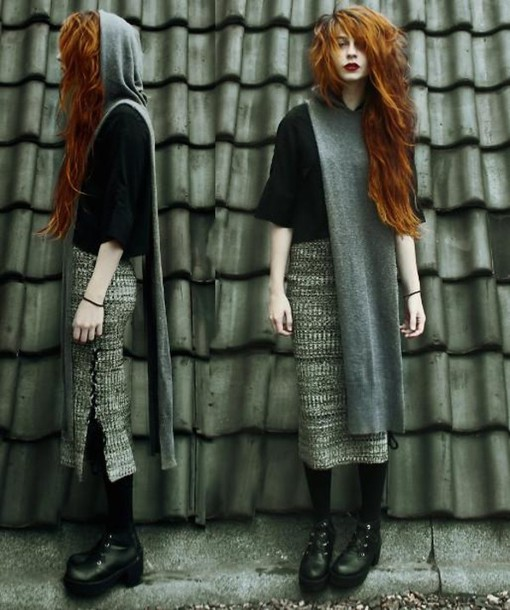 skirt days hooded longline grey mixed knit skirt shoes hairs