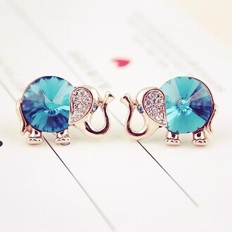 jewels elefant earrings elephant rhimstones rhinestones cute girly