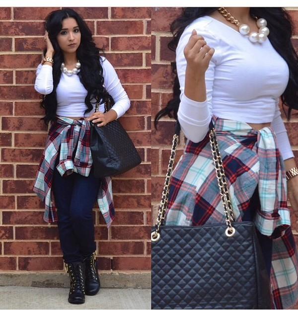 plaid shirt purse jeans necklace