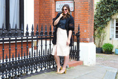 fashion foie gras,blogger,jacket,sunglasses,skirt,shoes,make-up,sandals,gold shoes,mid heel sandals,midi skirt,spring outfits