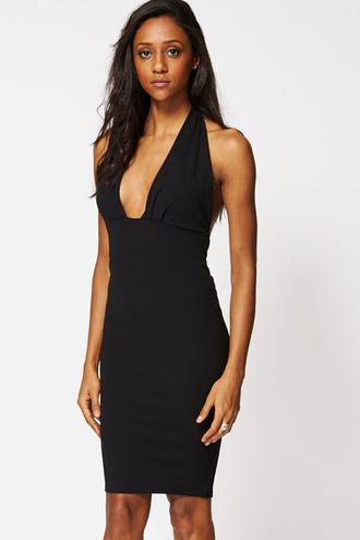 dress basiklush black dress black casual halter top bodycon dress gown midi skirt plunge dress v neck summer style chic