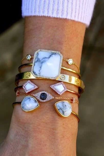 jewels crystal gold boho cuff bracelets stone marble shiny
